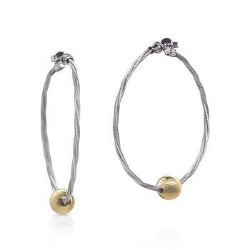 Grey Cable Hoop Earrings