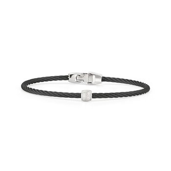Black Cable Single Station Stackable Bracelet
