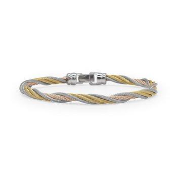 Carnation, Grey & Yellow Cable Modern Twist Bracelet