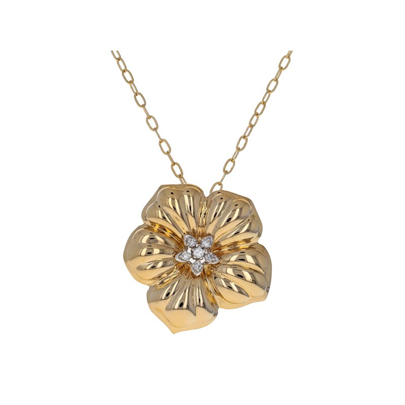 Estate Radcliffe Diamond Flower Pendant Necklace