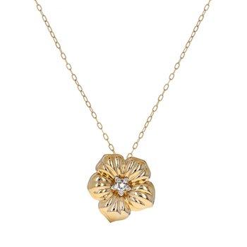 Diamond Flower Pendant Necklace