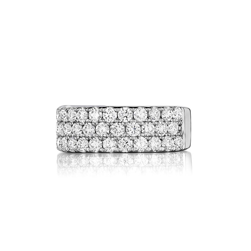 Henri Daussi Triple Row Diamond Wedding Band