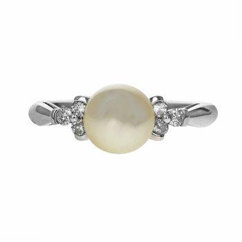 White Pearl & Diamond Ring