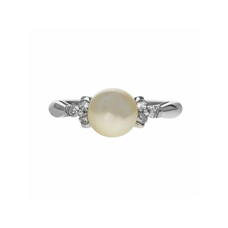Estate Radcliffe White Pearl & Diamond Ring