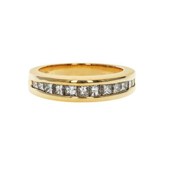 Princess Cut Half Diamond Band