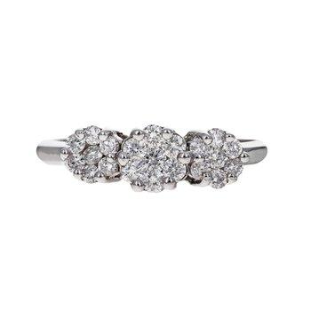 Three Flower Diamond Cluster Ring