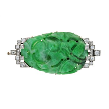 Burmese Jade & Diamond Pin