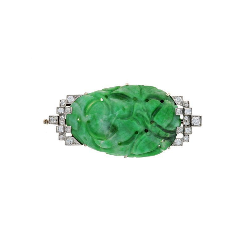 Estate Radcliffe Burmese Jade & Diamond Pin