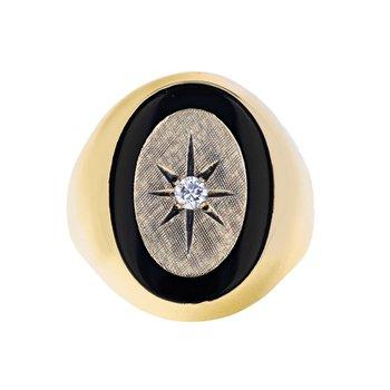 Diamond & Onyx Starburst Ring