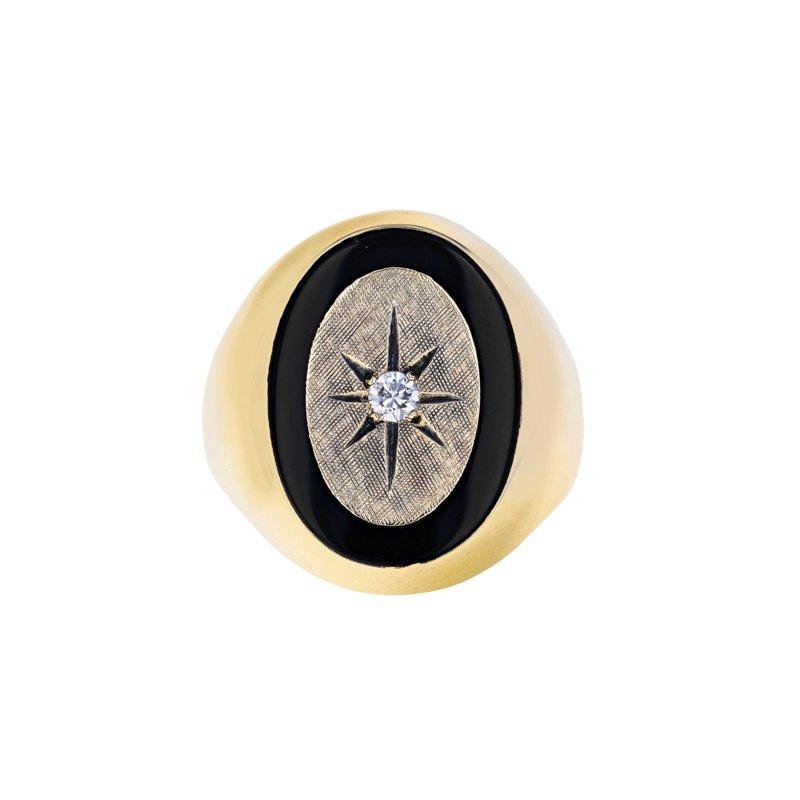 Estate Radcliffe Diamond & Onyx Starburst Ring