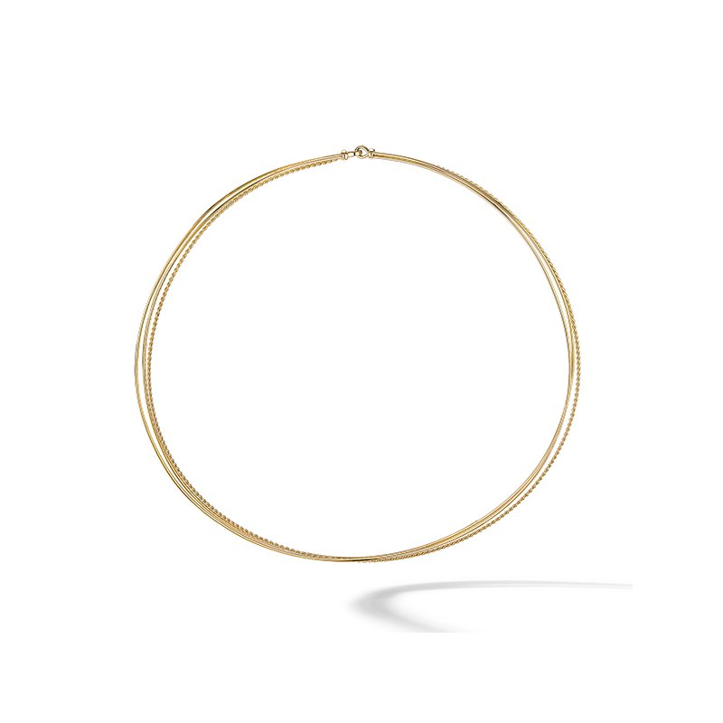 David Yurman DY Elements Three-Row Hard Wire Necklace in 18K Yellow Gold