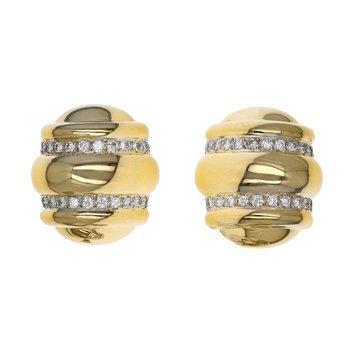 Ribbed Diamond Clip-On Earrings