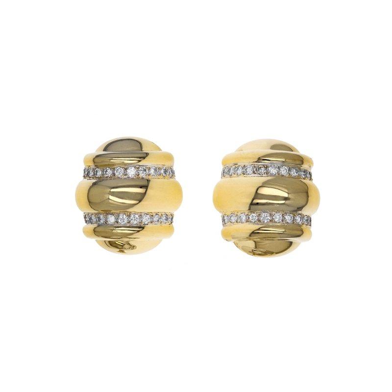 Estate David Webb Ribbed Diamond Clip-On Earrings