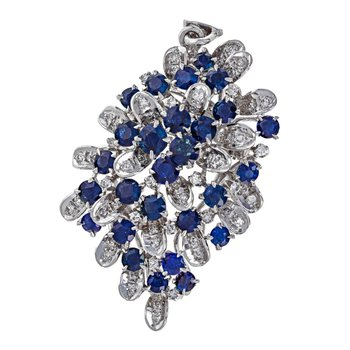 Diamond & Sapphire Cluster Brooch / Pendant