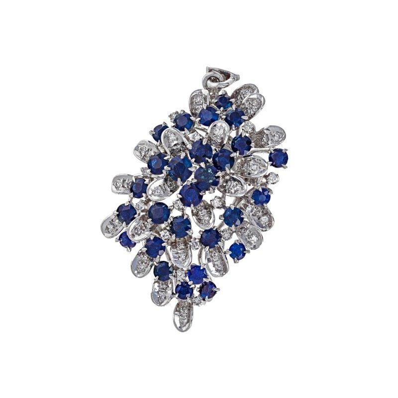 Estate Radcliffe Diamond & Sapphire Cluster Brooch / Pendant