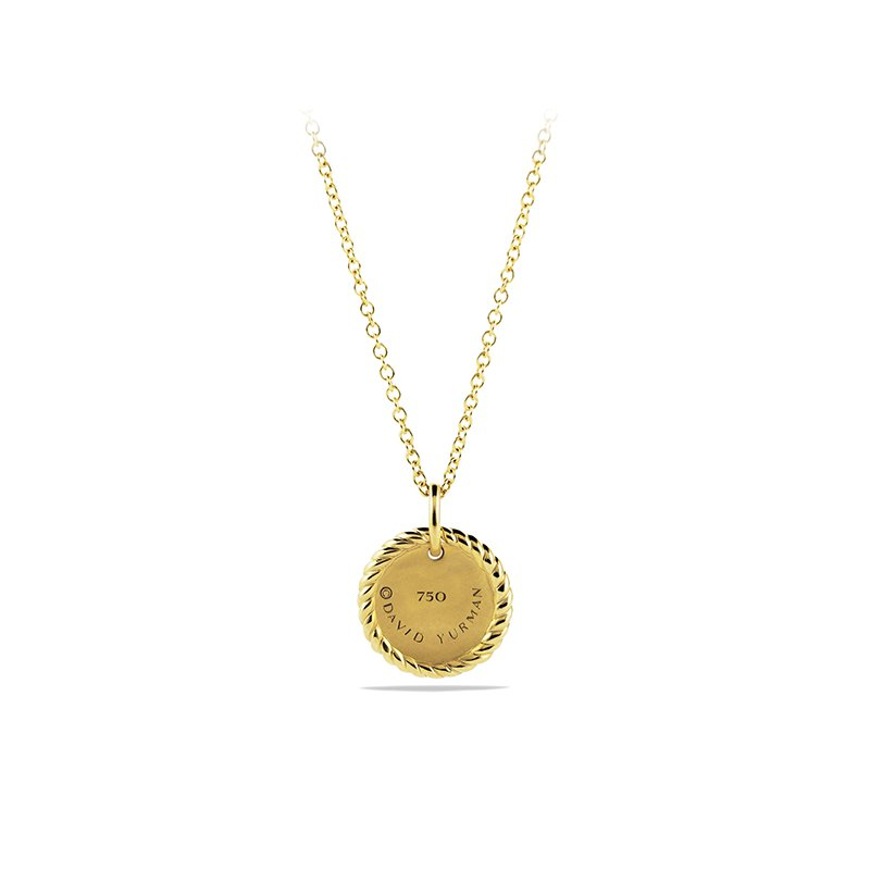 David Yurman Cable Collectibles Evil Eye Charm Necklace with Blue Sapphire, Black Diamonds, and Diamonds in Gold
