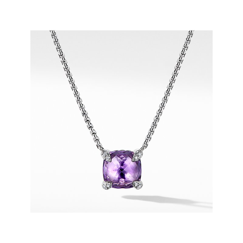 David Yurman Chatelaine Pendant Necklace with Amethyst and Diamonds