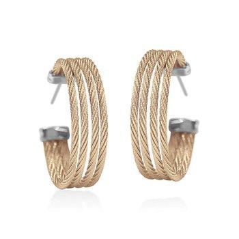Carnation Cable Hoop Earrings
