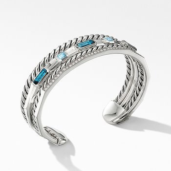 Stax Narrow Cuff Bracelet with Hampton Blue Topaz and Diamonds