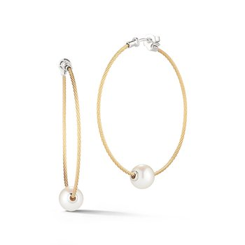 Yellow Cable Hoop Earrings with Freshwater Pearls