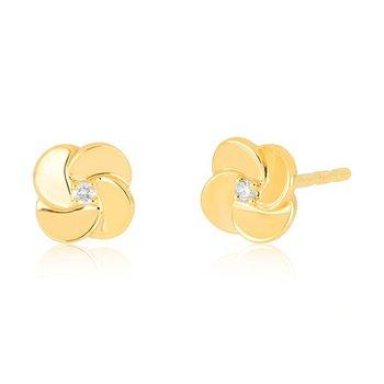 Gold and Diamond Petal Stud Earrings