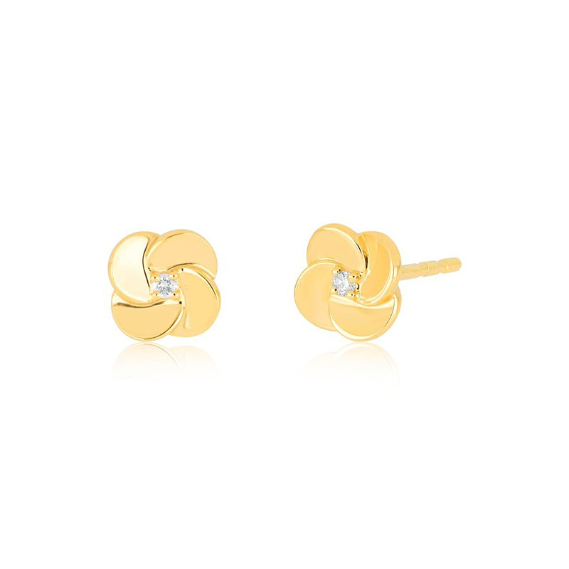 EF Collection Gold and Diamond Petal Stud Earrings