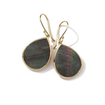 Polished Rock Candy Black Shell Teardrop Earrings
