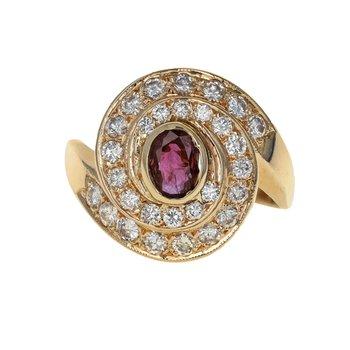 Diamond & Ruby Swirl Ring