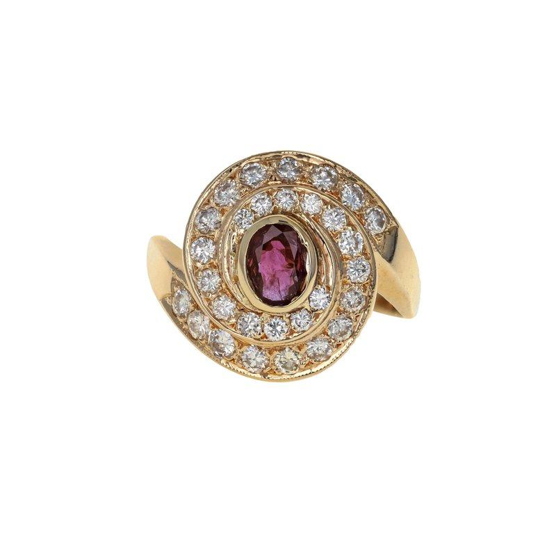 Estate Radcliffe Diamond & Ruby Swirl Ring