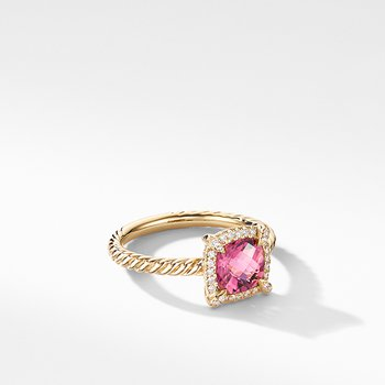 Petite Chatelaine Pave Bezel Ring in 18K Yellow Gold with Pink Tourmaline
