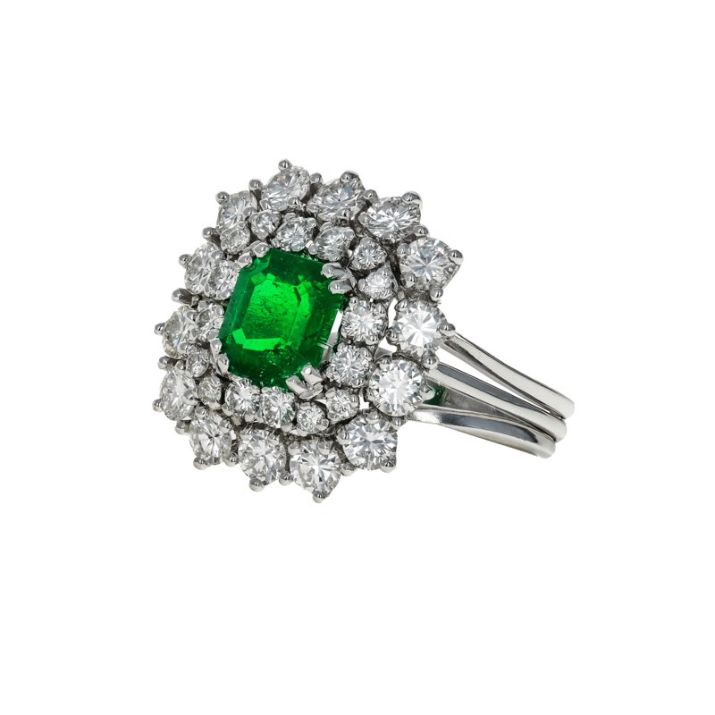 Estate Radcliffe Emerald & Diamond Halo Ring