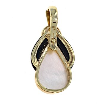 Mabe Pearl, Onyx & Diamond Teardrop Pendant