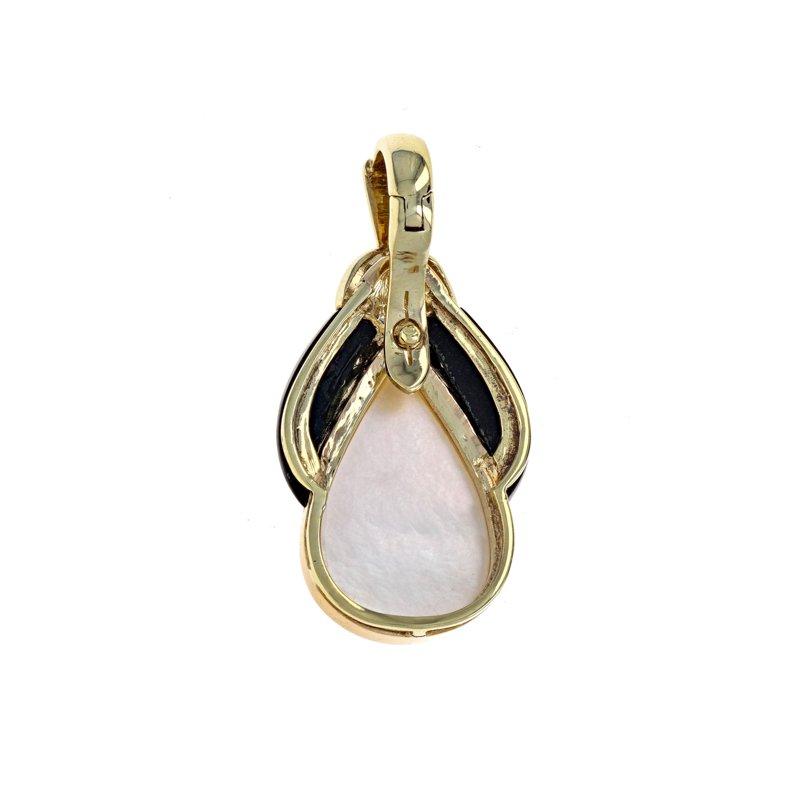 Estate Radcliffe Mabe Pearl, Onyx & Diamond Teardrop Pendant