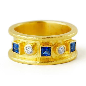 Blue Sapphire and Diamond Straight Cigar Band