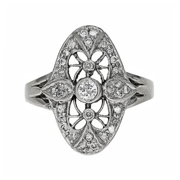 Oval Shape Diamond Filigree Ring