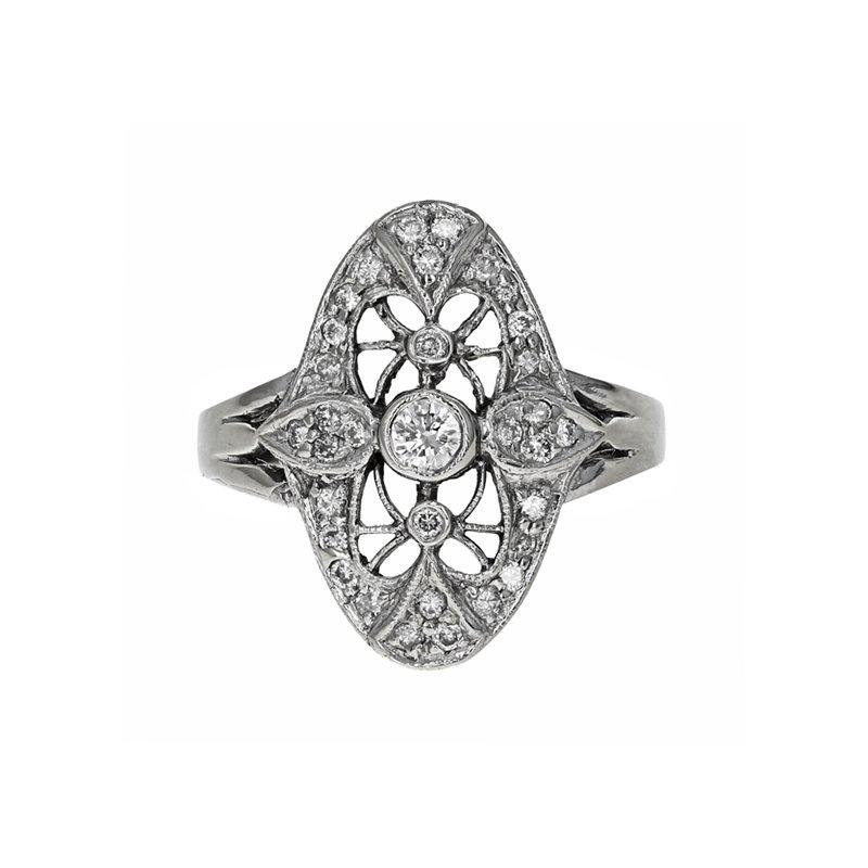 Estate Radcliffe Oval Shape Diamond Filigree Ring