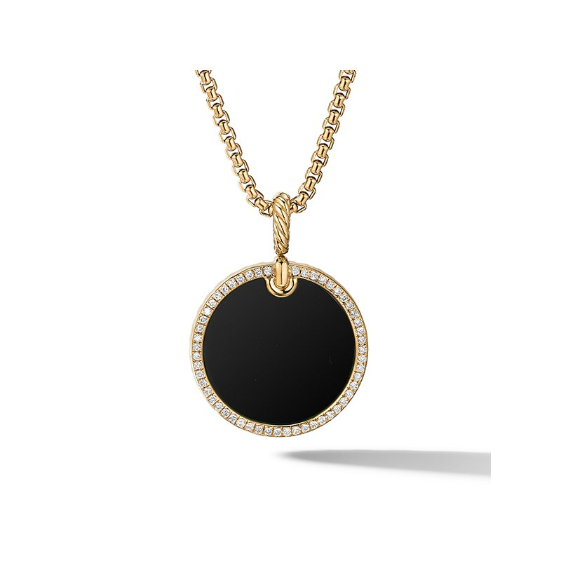 David Yurman DY Elements Disc Pendant in 18K Yellow Gold with Black Onyx and Pave Diamond Rim