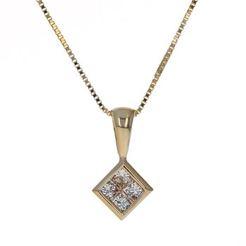 Kite Shaped Diamond Pendant Necklace