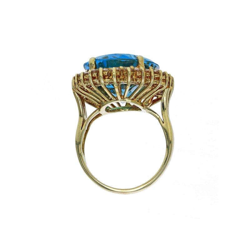 Estate Radcliffe Blue Topaz & Diamond Halo Ring