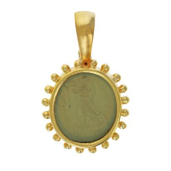 Venetian Glass Intaglio Pendant