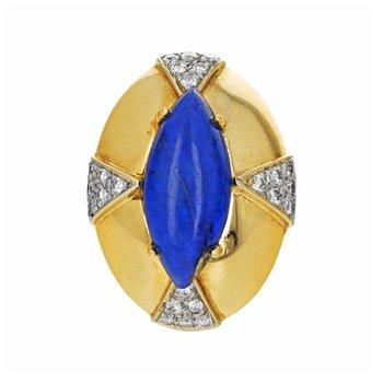 Diamond & Lapis Lazuli Dome Ring