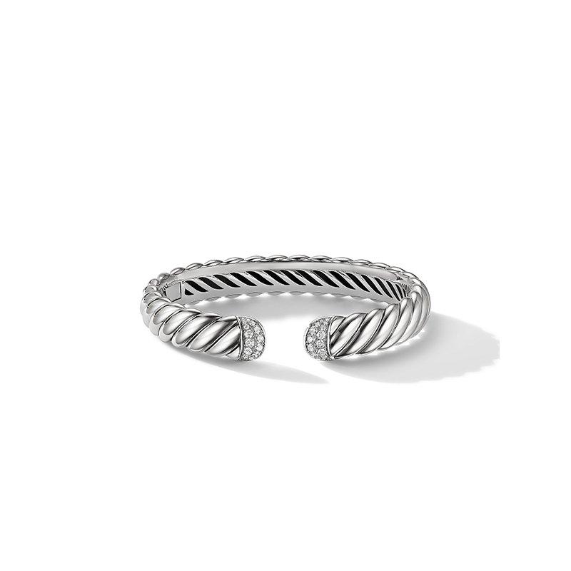 David Yurman Sculpted Cable Cuff Bracelet with Pave Diamonds