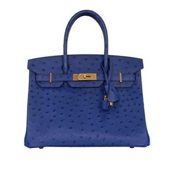 30cm Blue Ostrich Birkin Bag