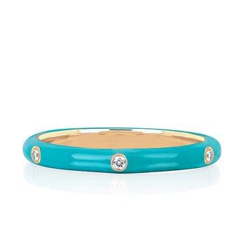 3 Diamond Turquoise Enamel Stack Ring