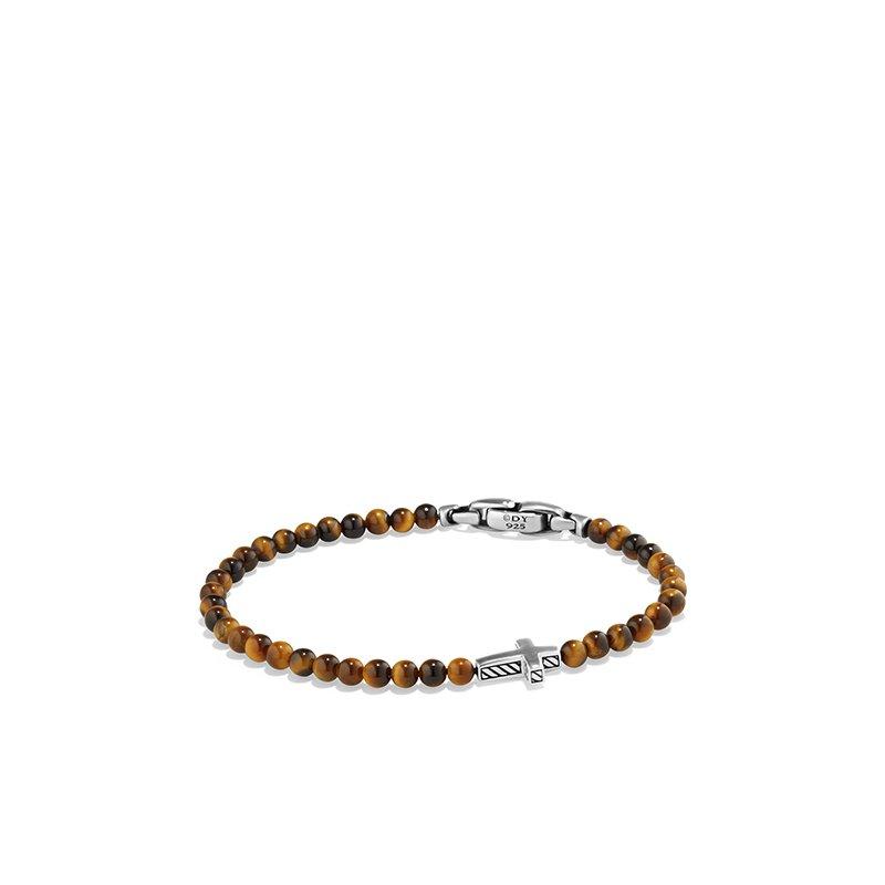 David Yurman Spiritual Beads Cross Station Bracelet with Tigers Eye