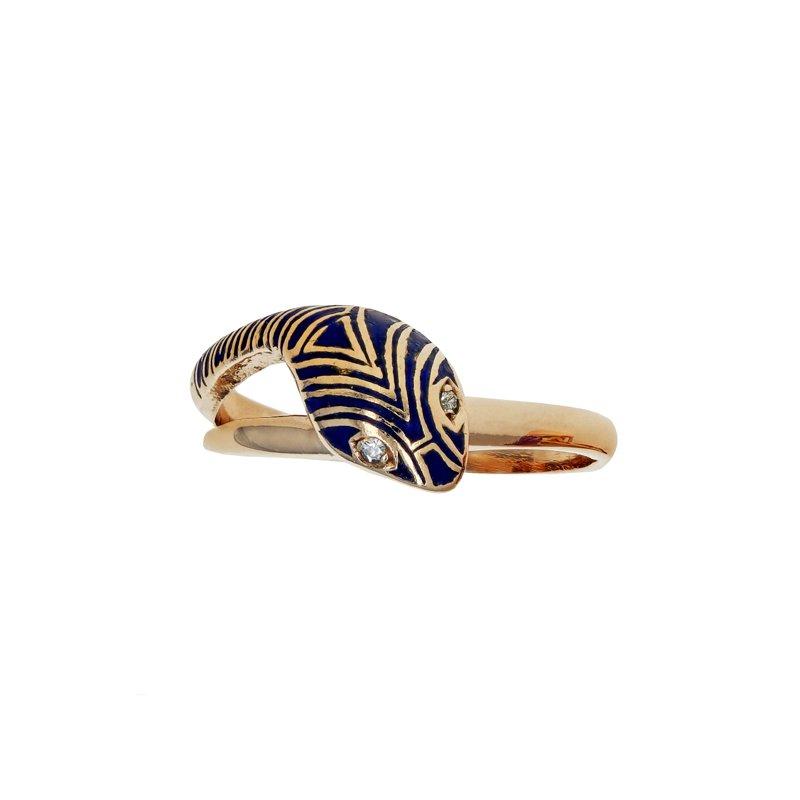 Estate Radcliffe Enamel & Diamond Snake Ring