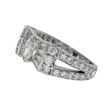 Platinum Diamond Bow Ring