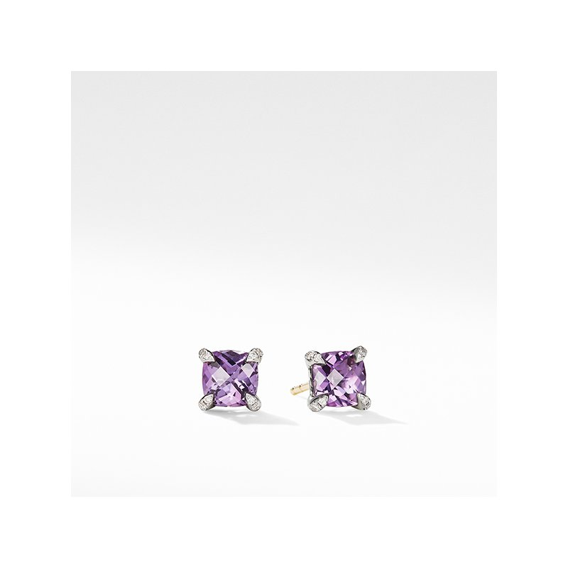 David Yurman Chatelaine Stud Earrings with Amethyst and Diamonds