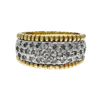 Beaded Trim Diamond Ring
