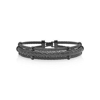 Black Cable & Black Leather Bracelet